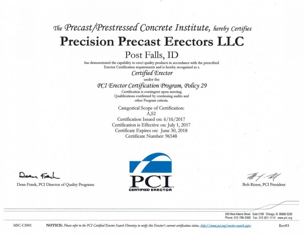 Precast/Prestressed Concrete Institute Certificate