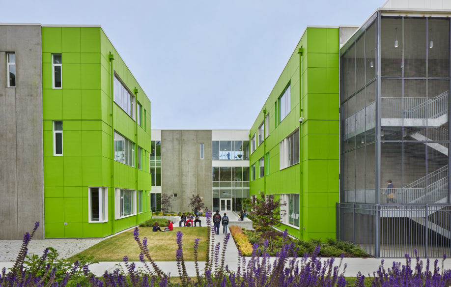 Robert Eagle Staff Middle School and Cascadia Elementary School. Seattle, Washington. Image license: Mahlum Architects, Lydig Construction, CPL, Hargis Engineers and Shiels Obletz. © Copyright 2018 Benjamin Benschneider All Rights Reserved. Usage may be arranged by contacting Benjamin Benschneider Photography. Email: bbenschneider@comcast.net